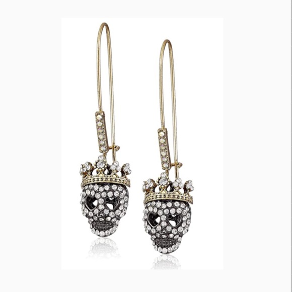 Betsey Johnson Two-Tone Skull Long Drop Earrings